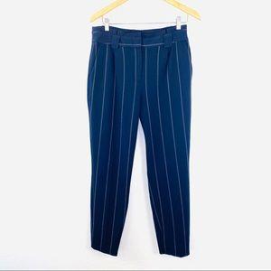 Express navy pinstripe paperbag waist ankle pant 8